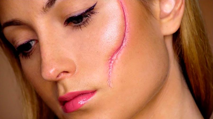 Рубец на лице